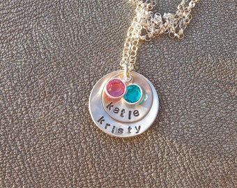 Personalized Name Necklace Hand Stamped Layered Sterling Silver with Swarovski Crystal - Gifts for Mom - Mother's Day