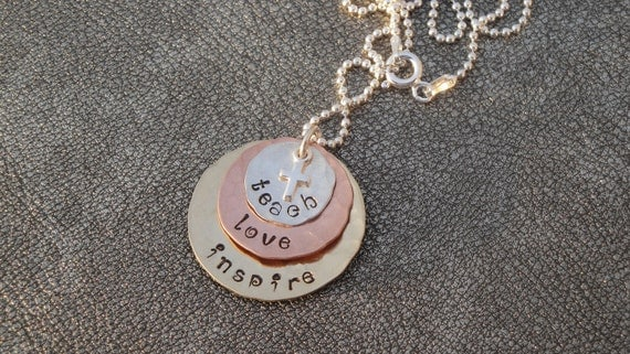 Personalized Teacher Appreciation Hand Stamped Layered Pendant Teach Love Inspire with Cross-Teacher Gift-Graduation Gift- Retirement Gift
