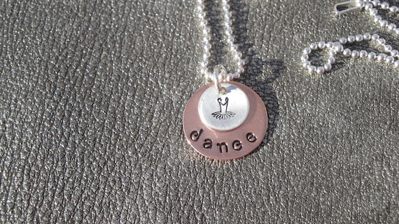 Personalized Dance Hand Stamped Necklace with TuTu Charm - Personalize with a Name - Dance Recital Gift - Christmas