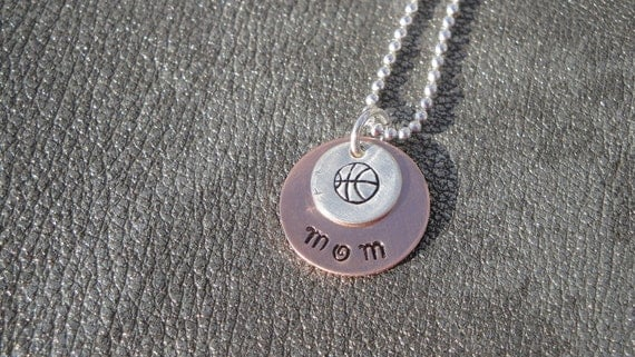Basketball Mom or Coach Personalized Hand Stamped Necklace with Basketball Charm - Gifts for Mom