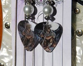 Holographic Werewolf Guitar Pick Dangle Pearl Earrings