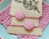 Button hair tie ponytail - pink polkadots