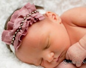 Baby Girl Headband - Infant Headband - Newborn Headband - Adult Headband - Photo Prop - Couture Mauve Pink Rhinestone Headband