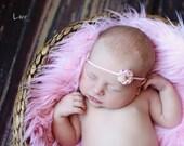 Newborn Flower Headband - Baby Flower Headband - Infant Flower Headband - Pink Petite Flower on Pink Skinny Elastic Headband