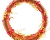 Large Shantung Silk Cuff Bracelet Bangle Fabric Textile Art jewelry peach pink