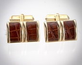 Vintage Swank Gold Tone Cufflinks with Double Panel Reptile Insets