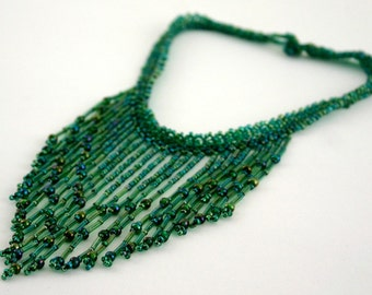Sweet Summer Grass Beaded Fringe Necklace