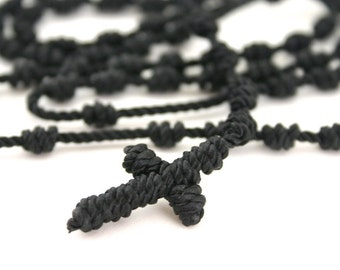 Knotted Rosary cord Rosary cross Rosary Military Cord Rosary Cross Necklace Cross Rosary Multiple Colors Available