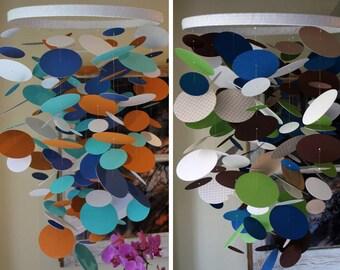 Custom paper chandelier or mobile.  Choose your colors.  Beautiful for weddings, showers, parties, nurseries, etc.