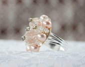 Ring made from vintage jewelry. Adjustable, beautiful and one of a kind.  PINK MINK