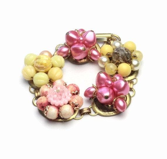 Bracelet made from retro vintage cluster earrings PINK LEMONADE