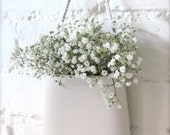 Simple White Porcelain Hanging Wall Pocket - Hideminy