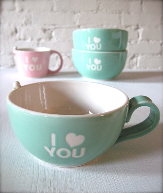 I Love You Angel Turquoise Coffee cup for Valentine's Day
