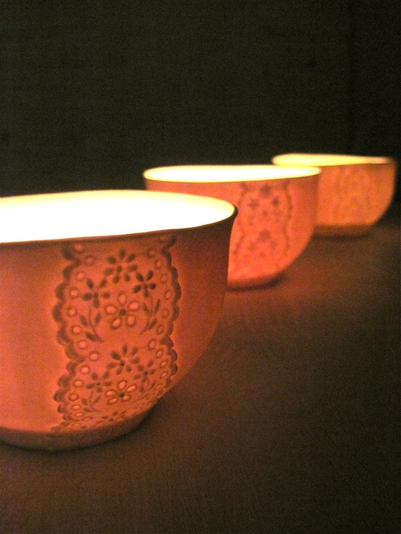 Paper Thin Porcelain Lace Bowl, Translucent Candle Holder-Hideminy Lace Series