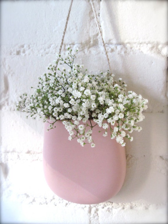 Custom Reserve Listing for Kylie Pink Pink Pink - Porcelain Hanging Wall Pocket