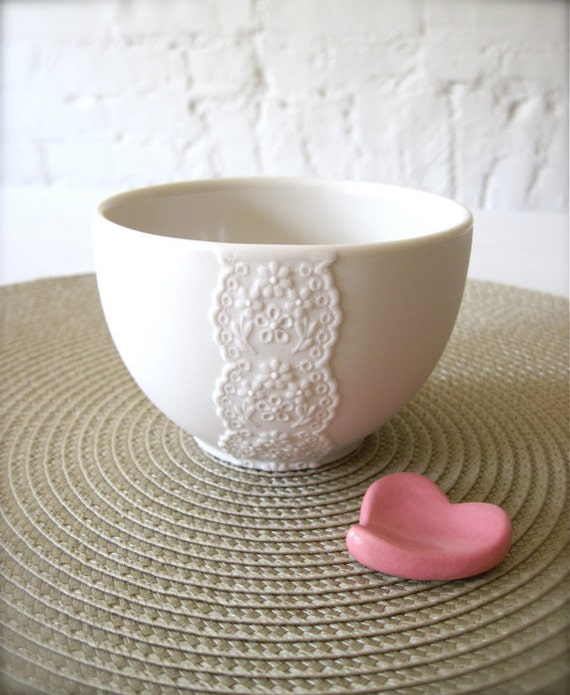 Custom Reserve Listing for Chelsea-New Lovely Porcelain Lace Bowl with Heart Cutlery Rest-Hideminy Lace Series