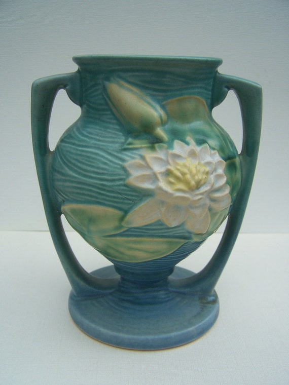 Vintage Roseville Pottery Water Lily Vase with Handles  in Ciel Blue USA