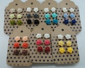 3 Pair Tiny Rose Earrings   Floral Earrings - Red, Coral, Yellow, Aqua, Navy, Gray, Lilac and more: Pick 3 stud earring sets