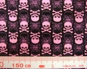 "Cotton fabric - Cool punk skulls - half yards - 3 colors  - rock - style - Check out with code ""5YEAR"" to save 20% off"