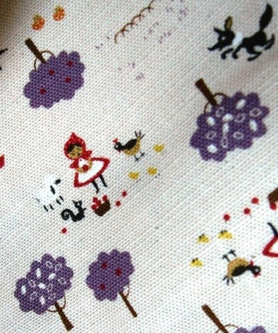 Little red riding hood and lovely animals purple tree half yard