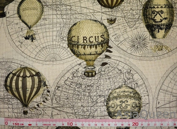 "The global hot-air balloon  carnival worldwide grey balloon - beige - 2 feet - cotton linen, Check out with code ""sale15"" to save 15% off"