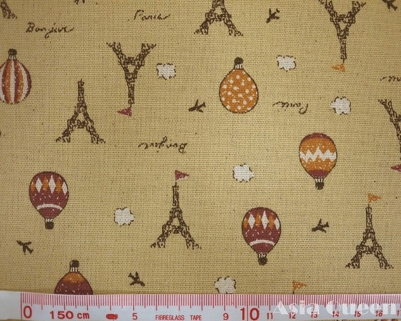 Paris tower with balloons - yellow - half yard - cotton linen