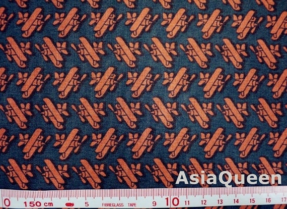 USD4.5 - Airplanes orange airplane - No.5 grey - half yard - cotton -SALE