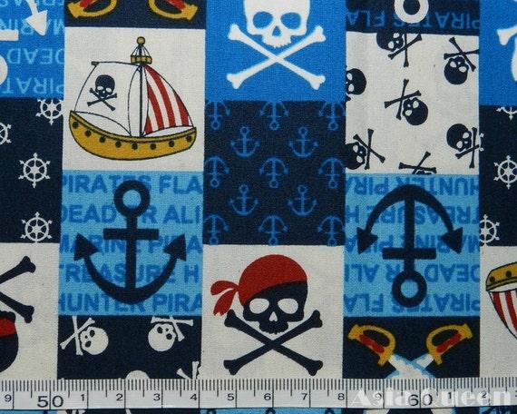 Cotton fabric- Skull pirate logo - blue - half  yard