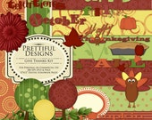 Thanksgiving Digital Scrapbooking Kit with Papers, Elements and Word Art