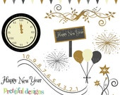 New Years Clip Art - Personal or Commercial Use