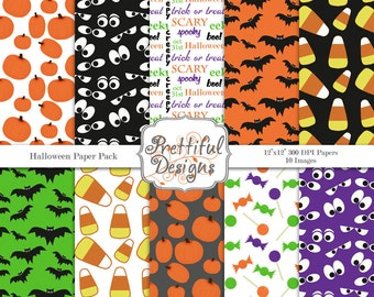 Digital Paper Pack  for Scrapbooking, Invitations, Card Making, Commercial Use  - Halloween