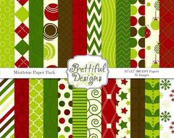 Mistletoe Christmas Digital Scrapbook Background Papers