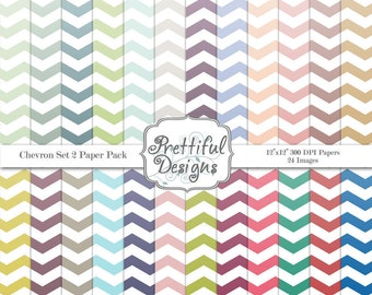 Gradient Chevron Digital Paper Pack  - Personal and Commercial Use - Chevron Set 2