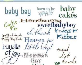Baby Boy Sayings Digital Scrapbooking Clip Art