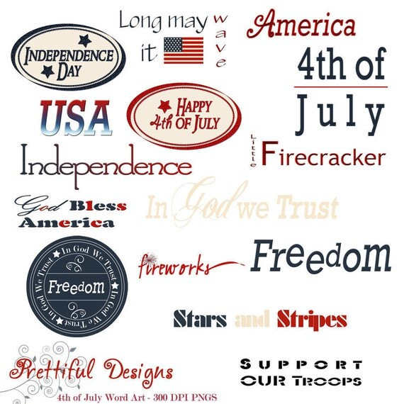 4th of July Clip Art Digital Scrapbooking Word Art Patriotic American USA (277)
