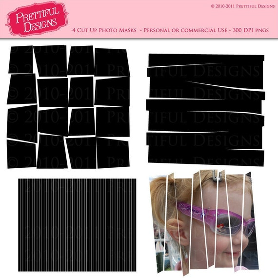 Cut Up Photo Masks for digital scrapbooking, photographers, photo cards