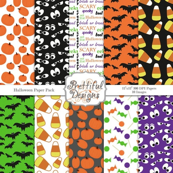 40% Off SALE Digital Paper Pack  for Scrapbooking, Invitations, Card Making, Commercial Use  - Halloween (375)