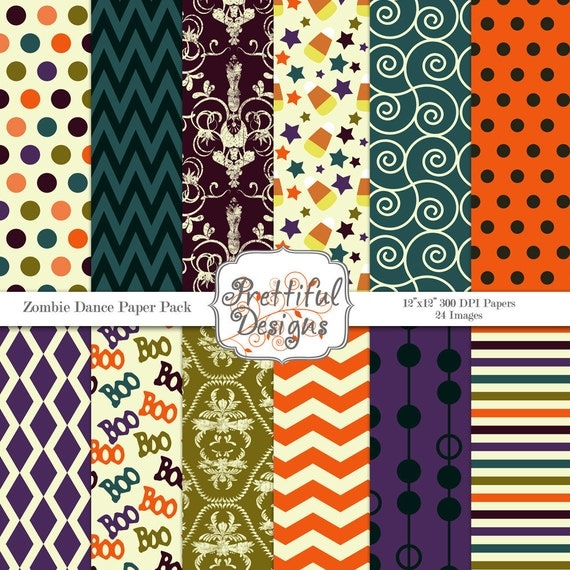 40% Off SALE Halloween Digital Paper Pack  for Scrapbooking, Invitations, Card Making, Commercial Use  - Zombie Dance (365)