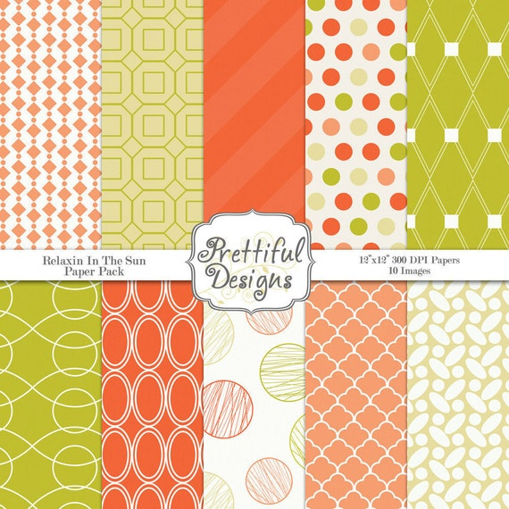 Digital Paper Pack  - Personal and Commercial Use - Relaxin In The Sun