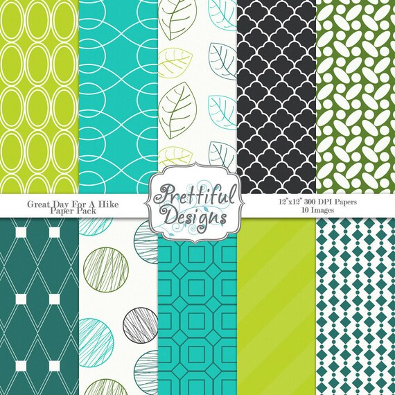 Digital Paper Pack  - Personal and Commercial Use - Great Day For A Hike