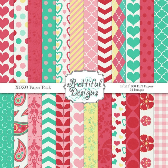 Digital Papers - Valentines XOXO