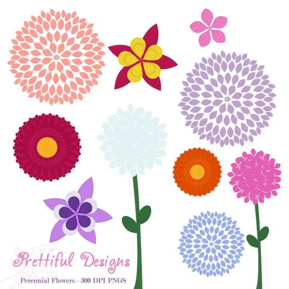 Perennial Flower Clip Art - Dahlia, Gerbera Daisy, Hydrangea, Columbine, Phlox