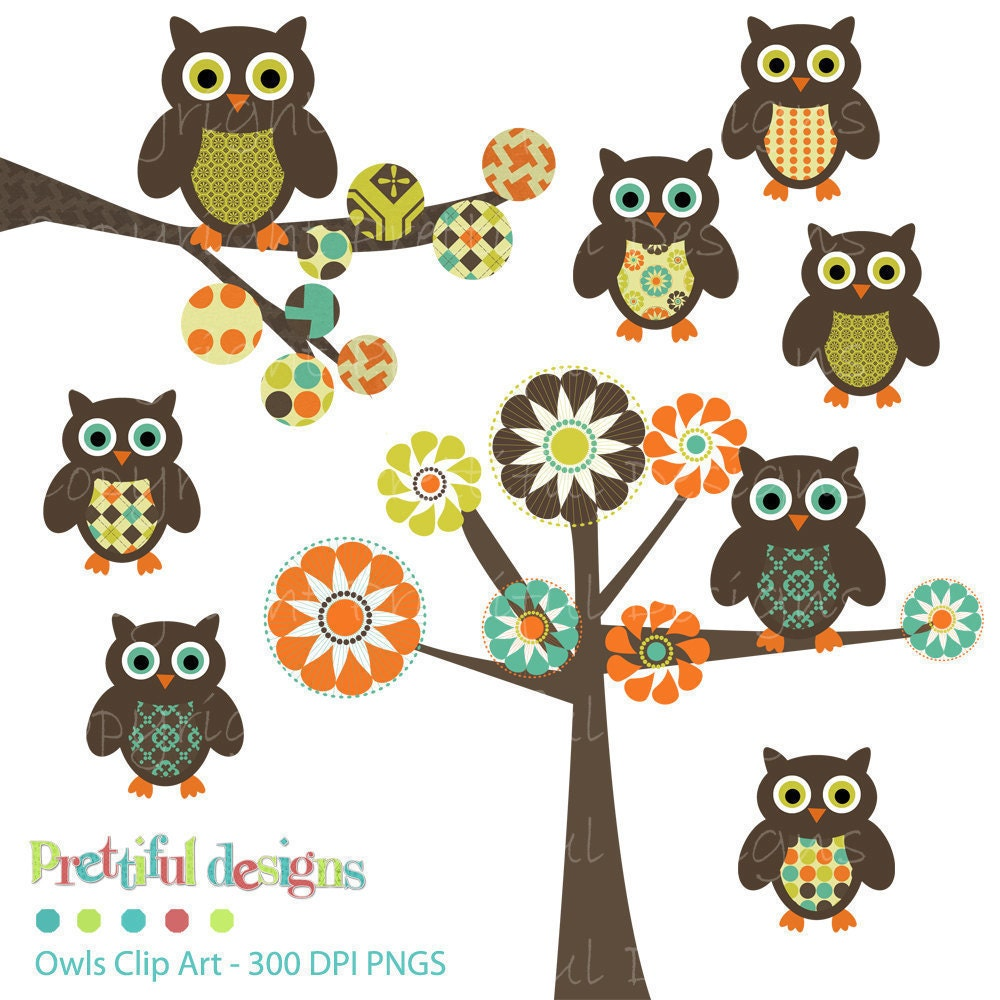 owl clip art tree clip art digital by prettifuldesigns on etsy Colorful Owl Clip Art owl tree branch clip art