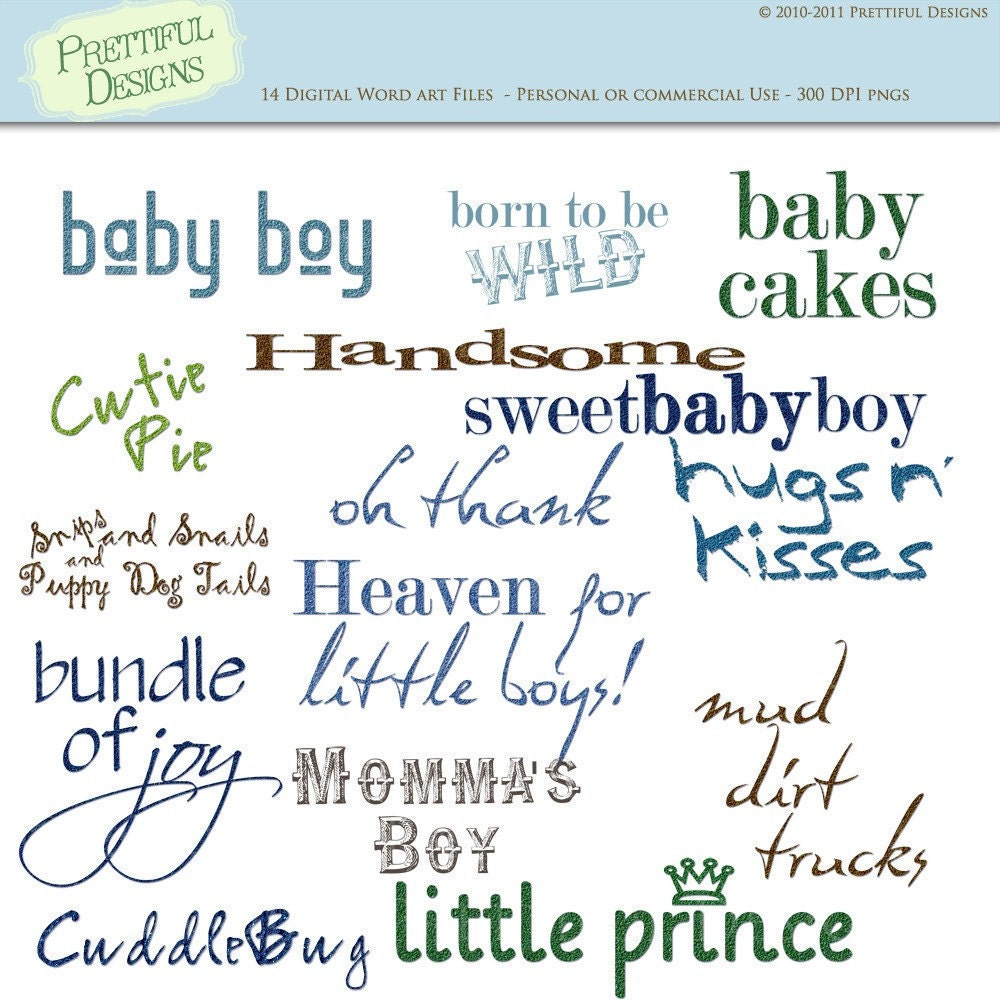 Baby Boy Sayings Digital Scrapbooking Clip Art | 1000 x 1000 jpeg 210kB