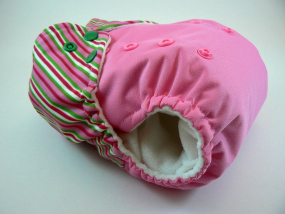 SALE - One Size Cloth Diaper - Pink & Green Striped Embellished Waist with Snaps and Welt Pocket Opening in White Microchamois