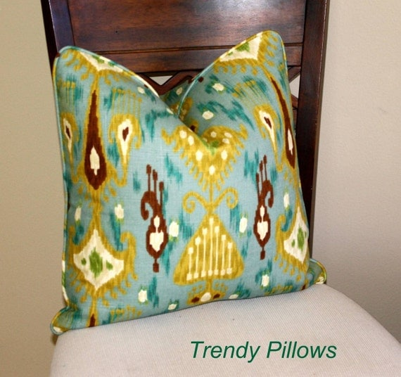 Ikat Pillow Robert Allen Khanjali in Peacock Pillow Cover, Decorative Pillow Cover, Accent Pillow, Throw Pillow, toss pillow