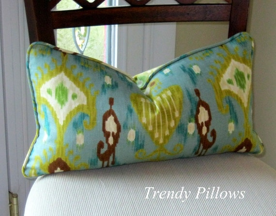 Robert Allen Khanjali Printed Linenweave in Peacock Pillow Cover