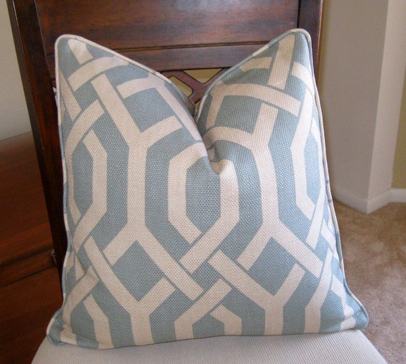 P. Kaufmann Slick Blue and Gray Trellis Pillow Cover