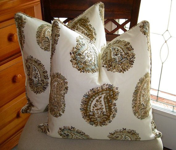 Custom order for katiebrooks82 two Schumacher's Arklow Paisley in Stone Pillow Covers
