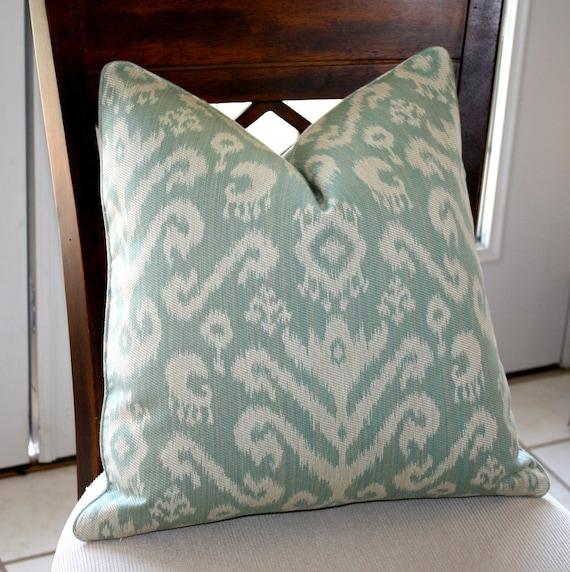 Designer Ikat Pillow Cover Kravet Smart Design in Aqua
